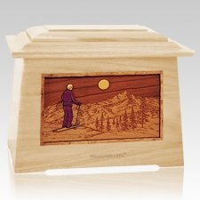 Skiing Maple Aristocrat Cremation Urn