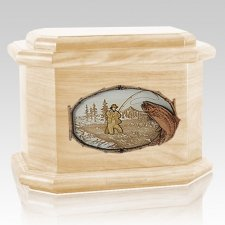 Fly Fishing Maple Octagon Cremation Urn
