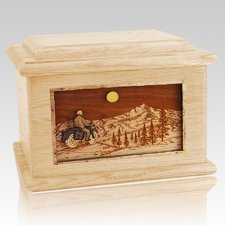 Motorcycle Mountains Maple Memory Chest Cremation Urn