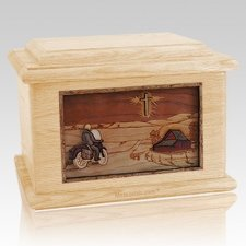 Motorcycle & Cross Maple Memory Chest Cremation Urn