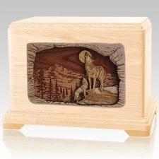 Wolves Maple Cremation Urn For Two