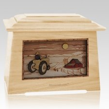 Tractor & Moon Maple Aristocrat Cremation Urn