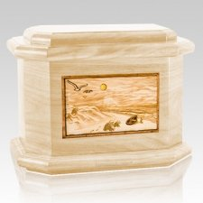 Walking on the Beach Maple Octagon Cremation Urn