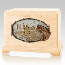 Fly Fishing Maple Hampton Cremation Urn