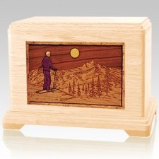 Skiing Maple Cremation Urn For Two