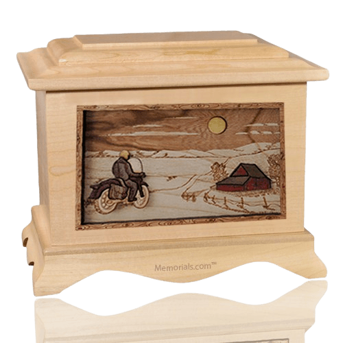 Motorcycle Moon Maple Cremation Urn