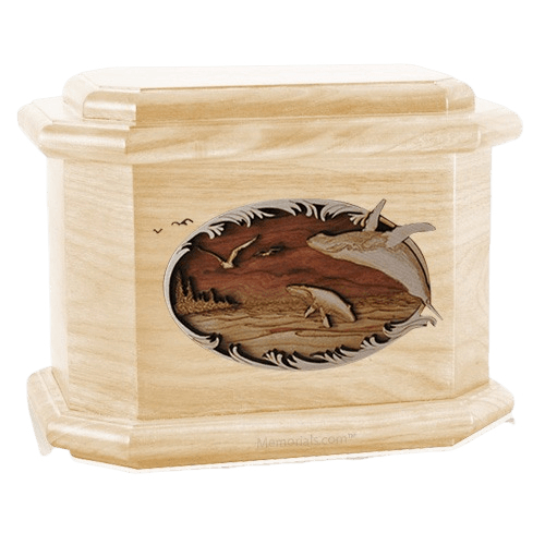 Whale & Calf Maple Octagon Cremation Urn