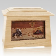 Motorcycle & Cross Maple Aristocrat Cremation Urn