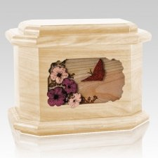 Butterfly Maple Octagon Cremation Urn