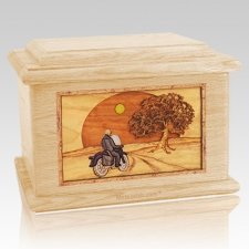 Motorcycle & Moon Maple Memory Chest Cremation Urn
