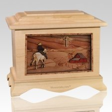 Horse & Cross Maple Cremation Urn