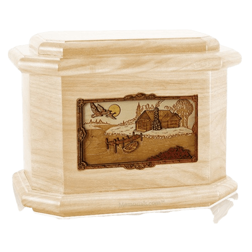 Rustic Paradise Maple Octagon Cremation Urn