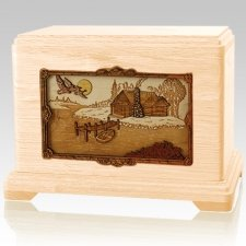 Rustic Paradise Maple Cremation Urn For Two