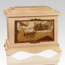 Rustic Paradise Maple Cremation Urn