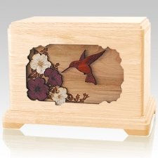 Hummingbird Maple Cremation Urn For Two