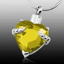 Yellow Heart Cremation Jewelry