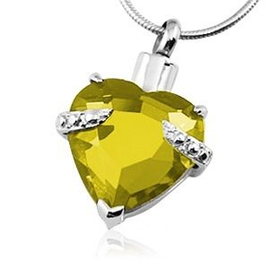 Yellow Heart Necklace For Ashes