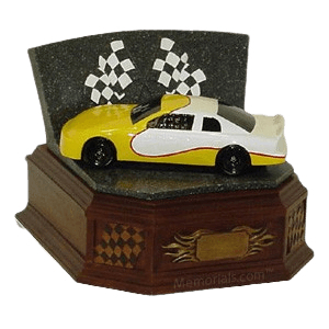 Yellow Race Car Cremation Urn