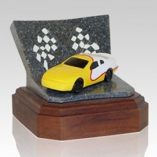 Yellow Race Car Keepsake Cremation Urn