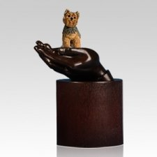 Yorkshire Terrier Hands Dog Cremation Urn