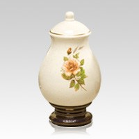 Yellow Rose Small Ceramic Urn