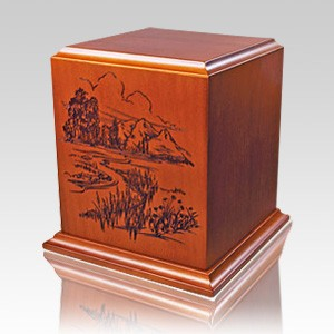 Mountain River Wood Cremation Urn