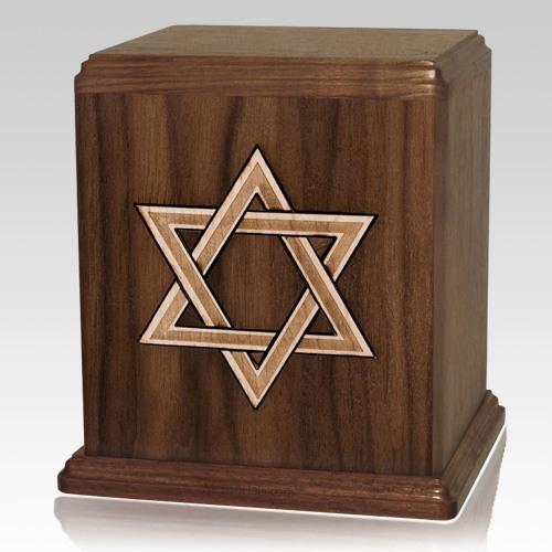 Star of David Walnut Cremation Urn