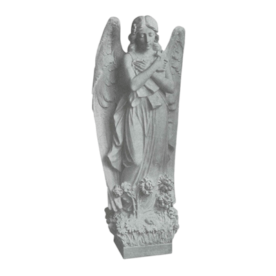 Angel In Flowers Granite Statue