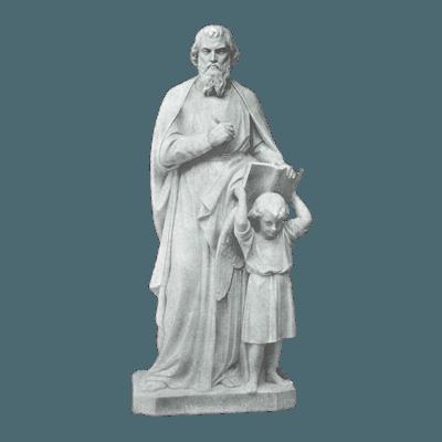 St. Matthew And Girl Granite Statue