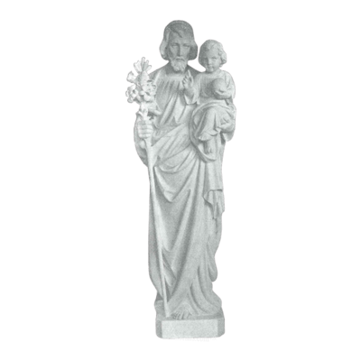 St. Joseph And Lillies Granite Statue