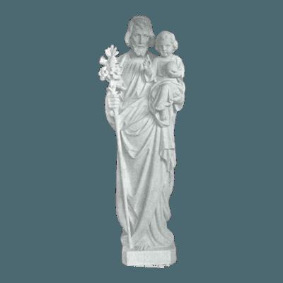 St. Joseph And Lillies Granite Statue V