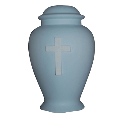 Cross Blue Cremation Urn