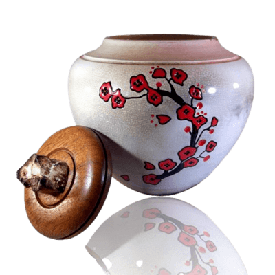 Flower White Cremation Urn