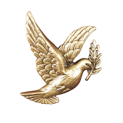 Small Dove with Laurel Medallion Appliques