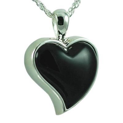 Indented Onyx Heart Keepsake Pendant