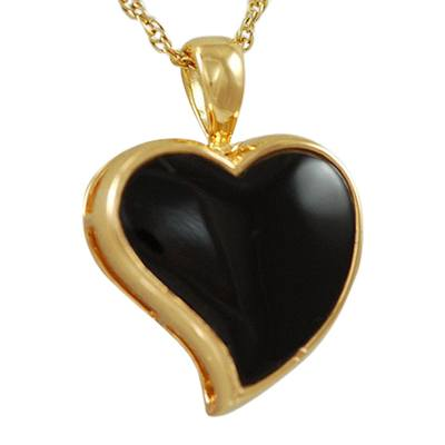 Indented Onyx Heart Keepsake Pendant IV