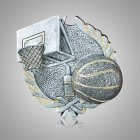 Hoops & Basketball Silver Medallion Appliques