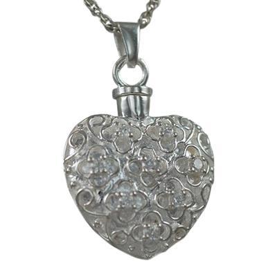 Flower Stone Heart Keepsake Pendant III