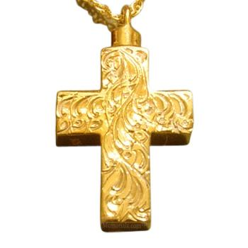 Large Etched Cross Cremation Jewelry II