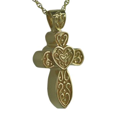 Hearts on Cross Keepsake Pendant IV