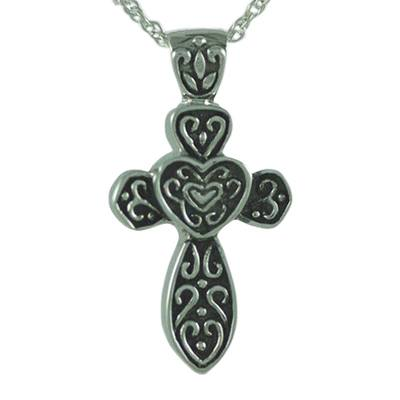 Hearts on Cross Keepsake Pendant III