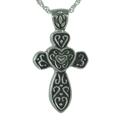 Cross with Hearts Keepsake Pendant