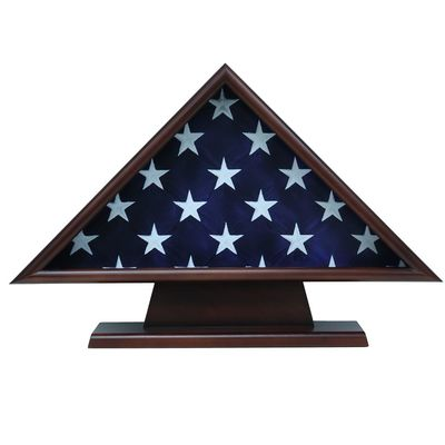 Pedestal Flag Walnut Display Case