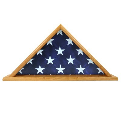 Casket Oak Flag Display Case