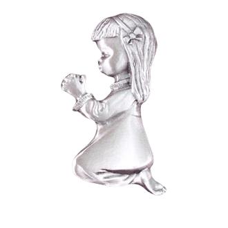 Girl Kneeling Silver Medallion Appliques