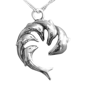 Dolphin Family Cremation Jewelry III