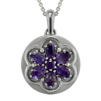 Amethyst Flower Gem Cremation Pendant