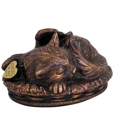 Angel Cat Cremation Urn Copper
