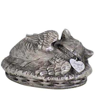 Angel Cat Cremation Urn Silver