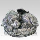 Angel Dog Cremation Urn Silver
